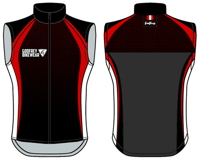 Red Honeycomb Full-Zip Cycling Gilet (Unlined)