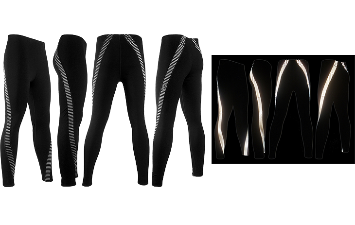 ThermoStretch Leggings with Reflective Twisted Stripe