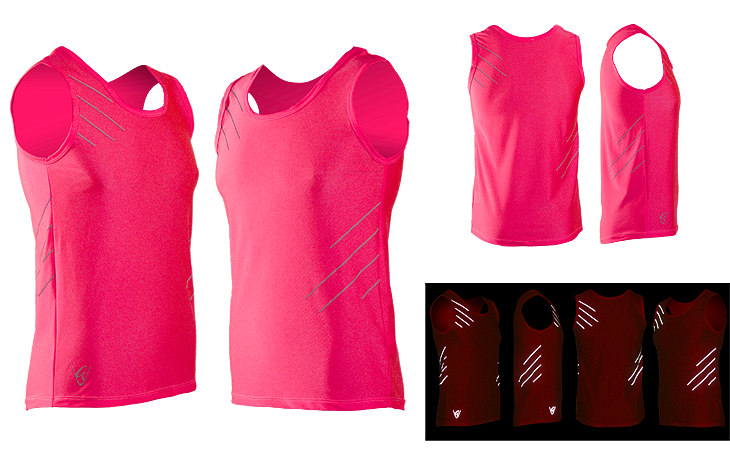 Be Seen Pink Singlet Stripes