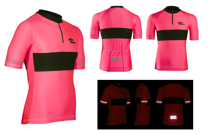 Be Seen Pink SS Neck-Zip Cycling Jersey